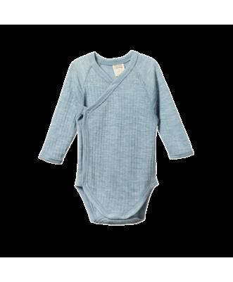 Merino Pointelle Long Sleeve Kimono Bodysuit